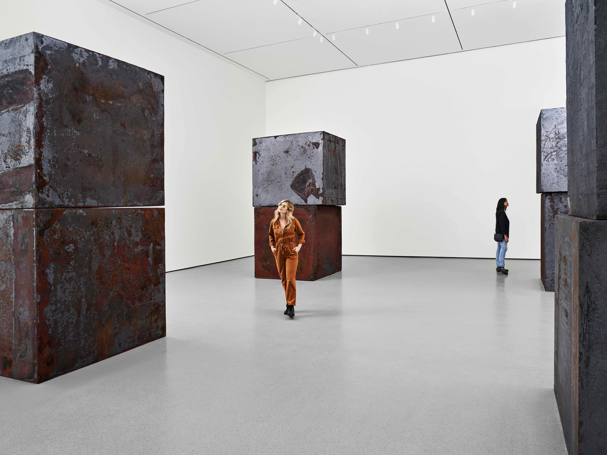A view of the second-floor collection galleries. Shown: Richard Serra. Equal. 2015. Forged weatherproof steel. Gift of Sidney and Harriet Janis (by exchange), Enid A. Haupt Fund, and Gift of William B. Jaffe and Evelyn A. J. Hall (by exchange). © 2019 Richard Serra/Artists Rights Society (ARS), New York