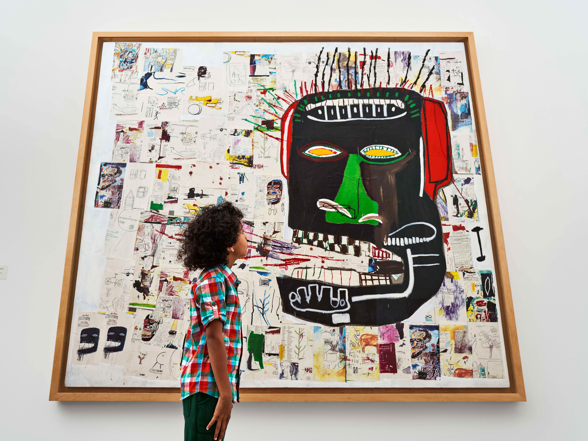 A view of the second-floor collection galleries. Shown: Jean-Michel Basquiat. Glenn. 1985. Acrylic, oilstick, and photocopy collage on canvas. Private collection. © 2020 Artists Rights Society (ARS), New York/ADAGP, Paris. Photo: Noah Kalina