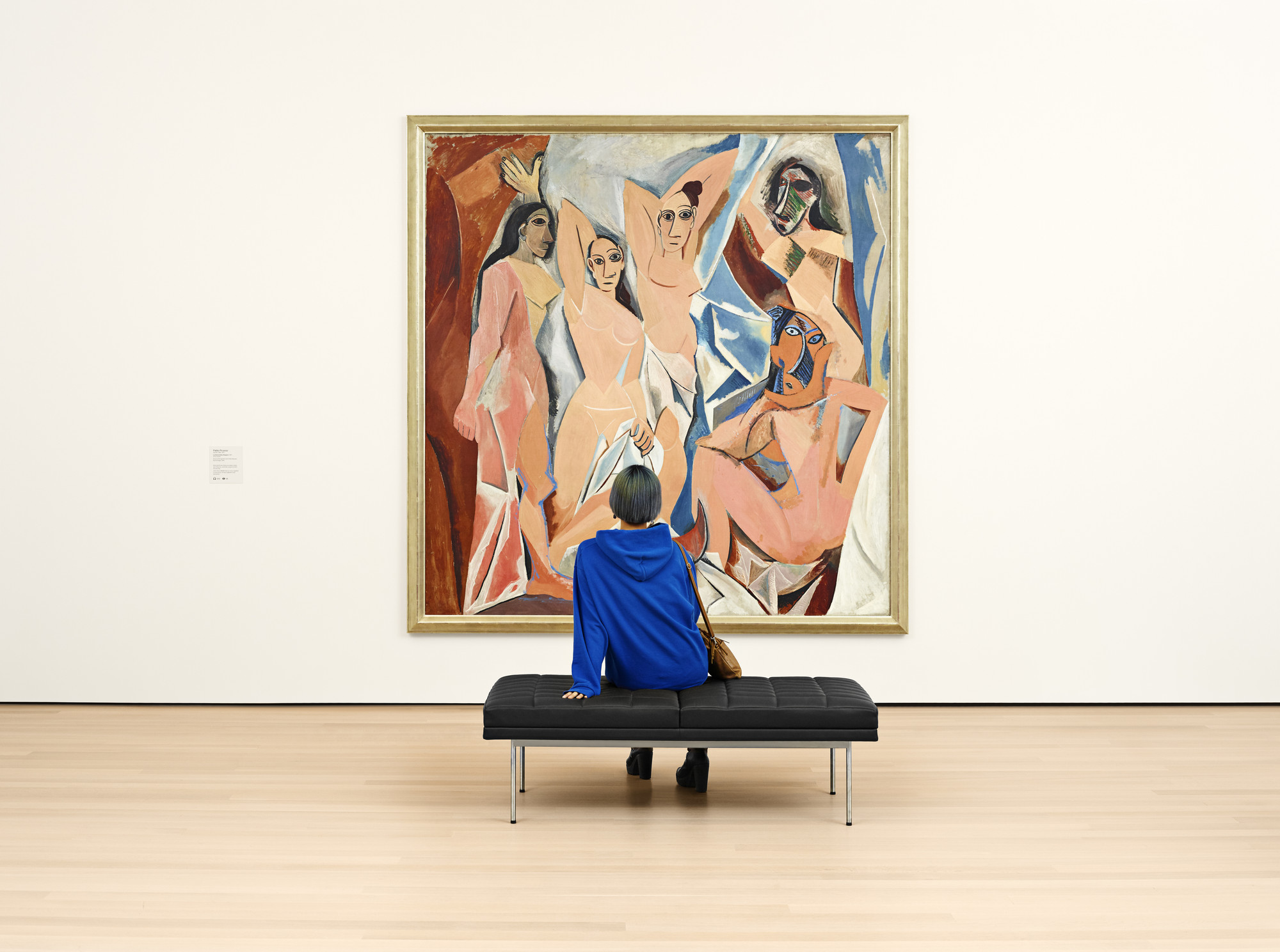 A view of the fifth-floor collection galleries. Shown: Pablo Picasso. Les Demoiselles d'Avignon. 1907. Oil on canvas. Acquired through the Lillie P. Bliss Bequest (by exchange). © 2020 Estate of Pablo Picasso/Artists Rights Society (ARS), New York. Photo: Noah Kalina