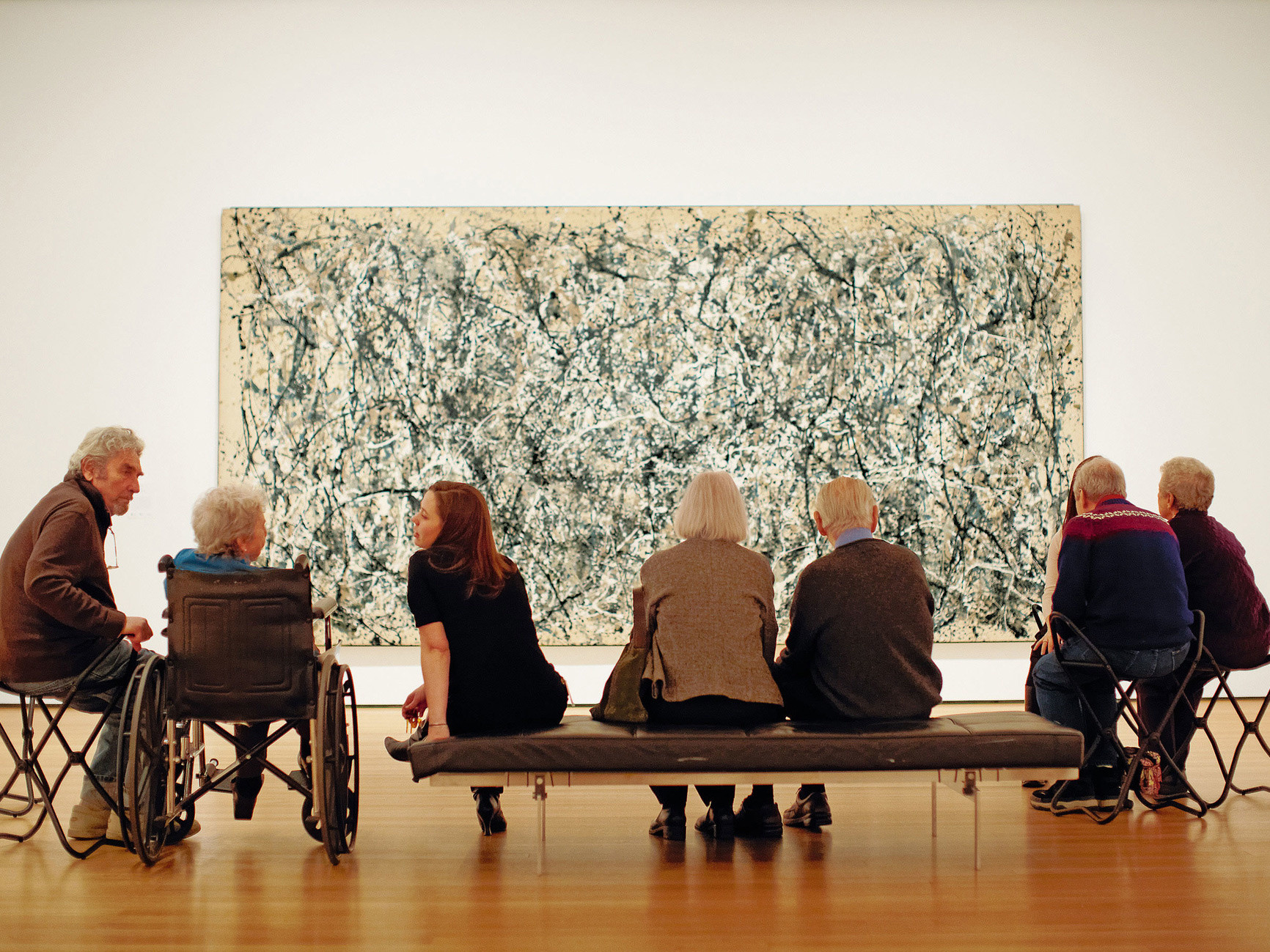 Meet Me at MoMA. February 3, 2009. On wall: Jackson Pollock. One: Number 31, 1950. 1950. Oil and enamel paint on canvas. Sidney and Harriet Janis Collection Fund (by exchange). Conservation was made possible by the Bank of America Art Conservation Project. © 2018 Pollock-Krasner Foundation / Artists Rights Society (ARS), New York. Photo: Jason Brownrigg