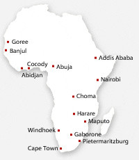 Map of African cities