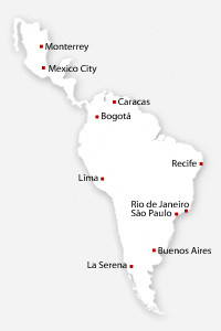 Map of North and South American cities