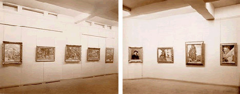 Installation photograph of the Museum's first exhibition, 1929. Left to right: Paul Cézanne, Gardanne (c. 1885); Paul Gauguin, The Bathers (1898); Vincent van Gogh, The Ravine (1889); Paul Gauguin, Breton Landscape (n.d.); Paul Gauguin, Breton Children (n.d.); Paul Cézanne, Self Portrait (n.d.); Paul Gauguin, Women of Arles (1888); Vincent van Gogh, Cypresses (1889); Paul Gauguin, Portrait of Meyer de Haan (1889). The Museum of Modern Art Archives, NY: J. B. Neumann Papers, VII.C.