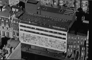 The Museum of Modern Art, New York, 1939. Façade designed by Phillip L. Goodwin and Edward D. Stone. Photograph by Andreas Feininger. Courtesy The Museum of Modern Art, New York. The Museum of Modern Art Archives, NY: Monroe Wheeler Papers.
