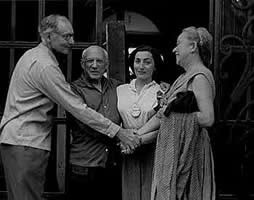 Photograph of Pablo Picasso and Jacqueline Roque with Mr. and Mrs. Alfred H. Barr, Jr., 1956. The Museum of Modern Art Archives, NY: Alfred H. Barr, Jr. Papers, 12.II.A