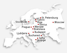 Map of European cities