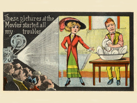 Those Pictures at the Movies started all my troubles, from a postcard series published by the SAS Company, 1914. Museum of Modern Art, Department of Film Special Collections