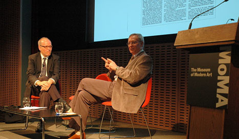 Danilo Streck and Tom Finkelpearl discuss the historical legacy and contemporary relevance of the theories and work of Paolo Freire and Augusto Boal at MoMA on July 21, 2011. Photo: Paul Lima