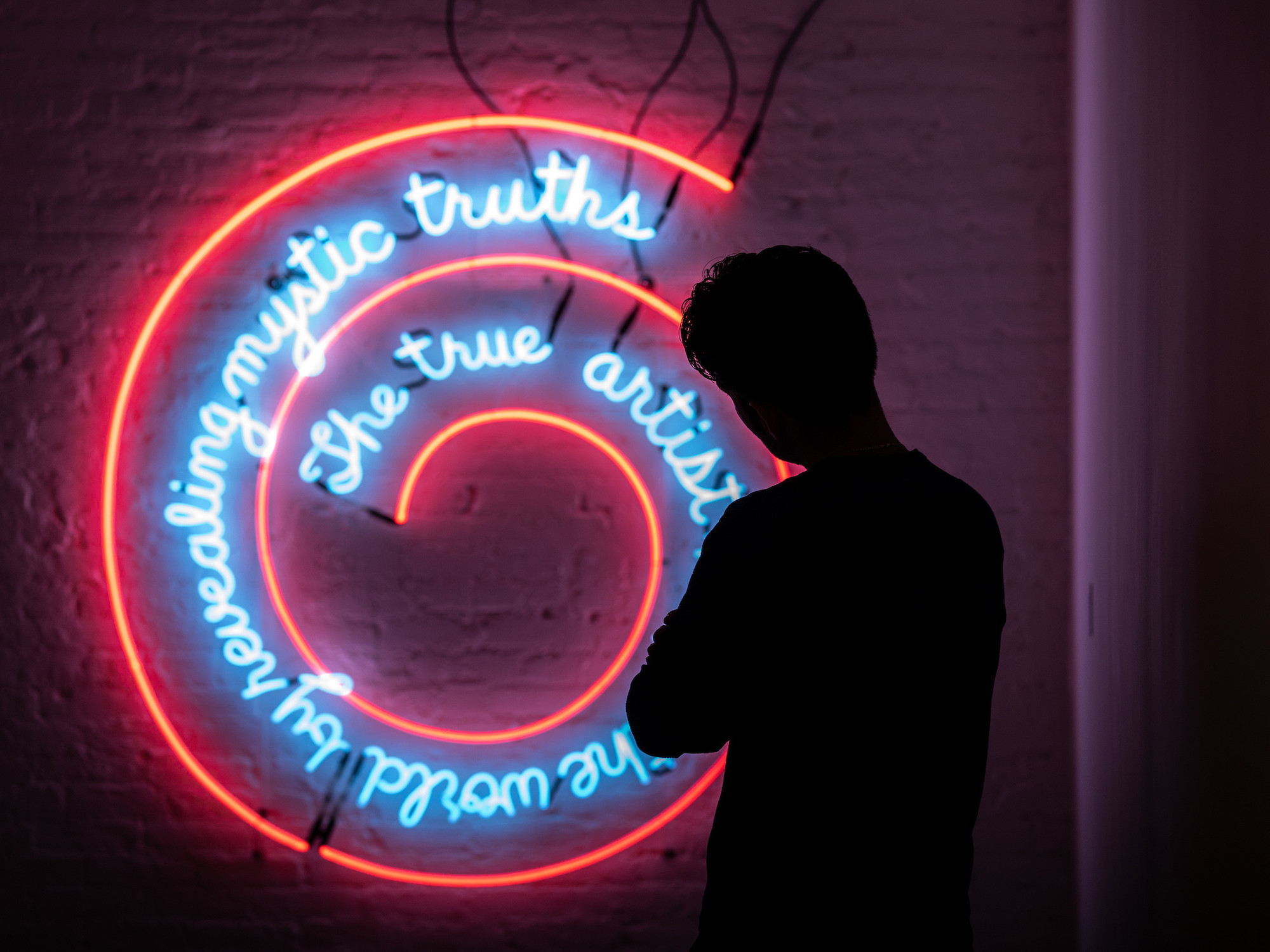 Installation view, Bruce Nauman: Disappearing Acts at MoMA PS1, New York (October 21, 2018–February 25, 2019, at MoMA and MoMA PS1). © 2018 Bruce Nauman/Artists Rights Society (ARS), New York. Digital image © 2018 The Museum of Modern Art, New York. Photo: Walter Wlodarczyk