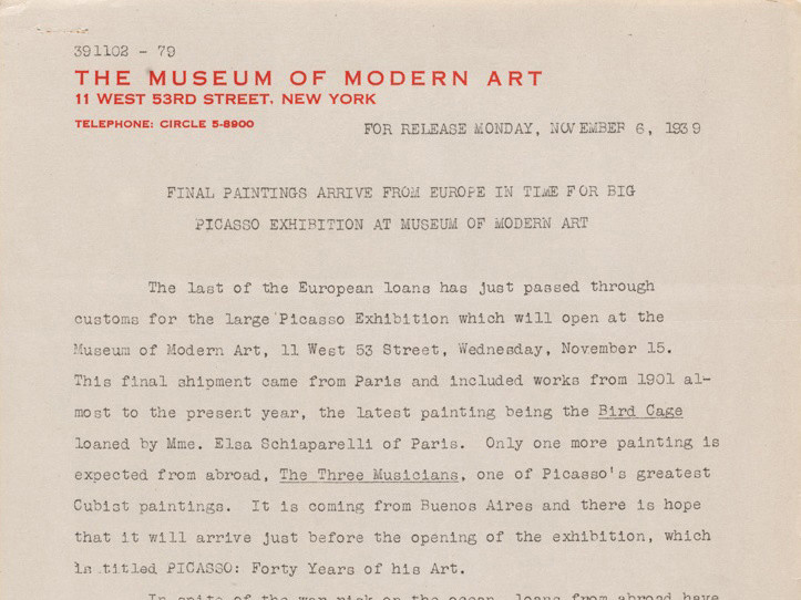 MoMA press release archives 1929–97 | MoMA