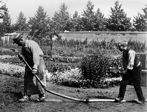 <i>The Waterer Watered</i> (aka <i>The Sprinkler Sprinkled,</i> or <i>Watering the Flowers</i>). 1895. France. Directed by Louis Lumière. 35mm print, black-and-white, silent, approx. 45 sec. Acquired from the artist