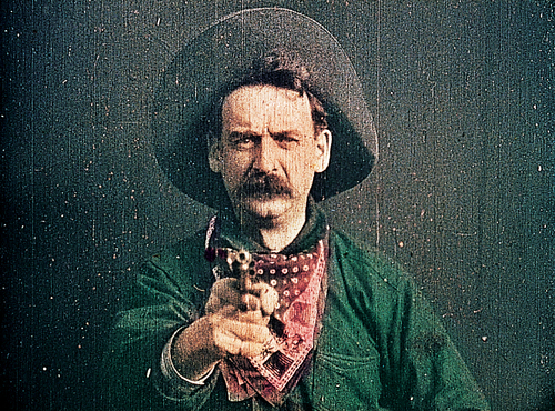 <i>The Great Train Robbery</i>. 1903. USA. 35mm print, black-and-white with color tinting, silent, approx. 11 min. Acquired from Don Malkames. Preserved with funding from the National Endowment for the Arts