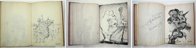 "Enrico Donati, American, born Italy. 1909-2008. Untitled (Sketchbook). c. 1944. Ink on paper ( three details shown), 10 x 8"" (25.4 x 20.3 cm). The Museum of Modern Art, New York. Gift of Adele Donati. © The Museum of Modern Art, New York"