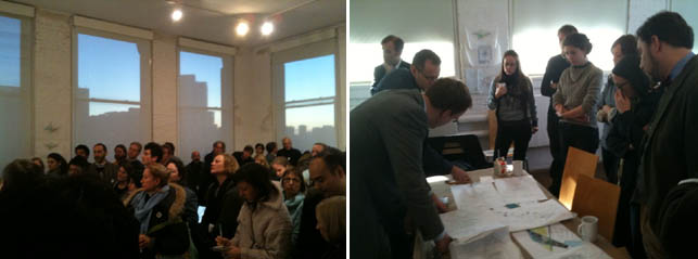 Left: Visitors attend the Open Studios at P.S.1 on December 12. Right: NYC Mayor's Office attends Open Studios at P.S.1