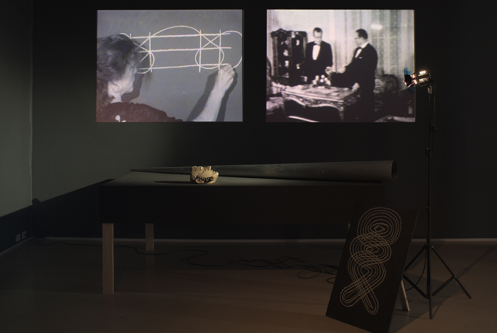 Joan Jonas. Mirage. 1976/2005. Installation with six videos (black and white, sound and silent), props, stages, photographs. The Museum of Modern Art. Gift of Richard Massey, Clarissa Alcock Bronfman, Agnes Gund, and Committee on Media Funds. Installation view, Yvon Lambert, New York, 2005. © 2009 Joan Jonas. Courtesy Yvon Lambert, Paris and New York. Photo: David Regen.