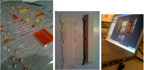 "From left to right: laser cut acrylic map indicating ""Seeds"" and ""Flows""; axonometric model; nARCHITECTS via Skype."
