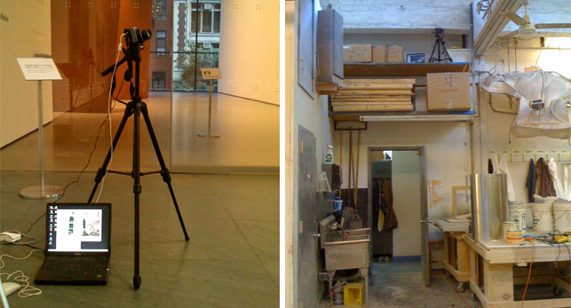 Time-lapse setup in the Marron Atrium (left), and on a shelf at the studios of ATTA Inc. (top right) for the fabrication of the topiary for the Tim Burton exhibition