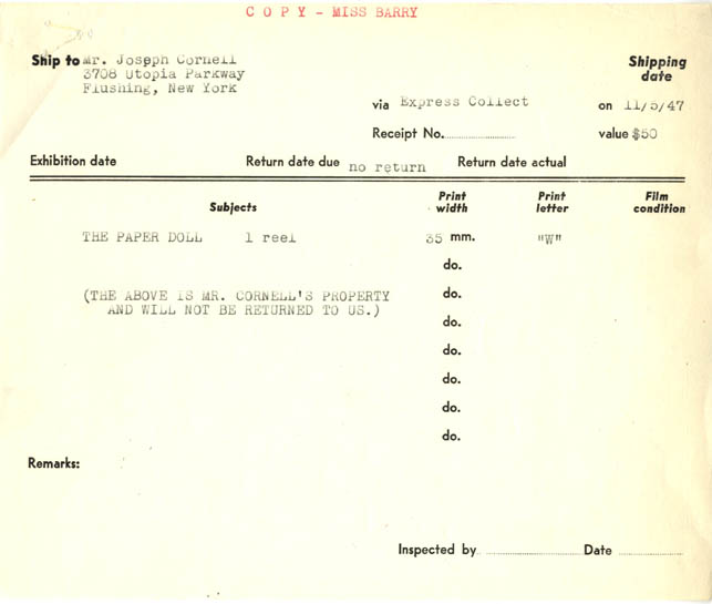 MoMA Shipping Invoice for the return of Paper Doll to Joseph Cornell