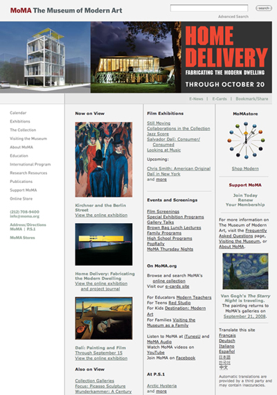 MoMA.org in 2008