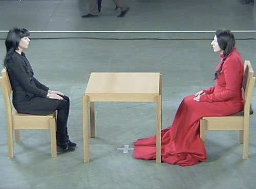 Screenshot from performance by Marina Abramović, MoMA, March 9, 2010