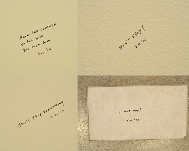Yoko Ono. Selections from Whisper Piece (four of sixteen total; installation view at The Museum of Modern Art). 2010. Pen on wall, dimensions variable. Collection of the artist. Photo: Jason Persse