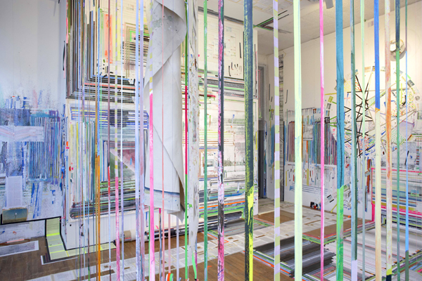 Franklin Evans. timecompressionmachine. Mixed mediums, dimensions variable. Courtesy the Sue Scott Gallery and Federico Luger Gallery. Photo: Matthew Septimus. Courtesy MoMA PS1