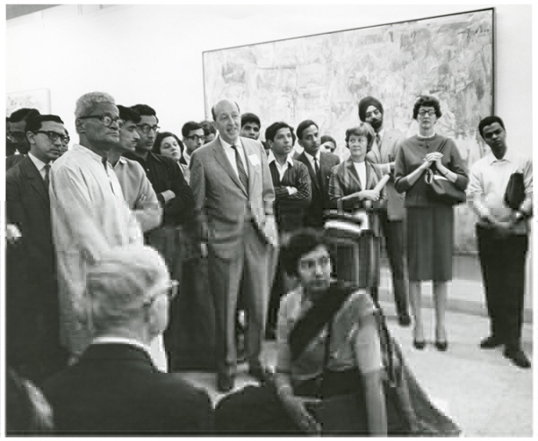 Clement Greenberg speaking in New Delhi in 1967 at a presentation of the MoMA exhibition Two Decades of American Painting