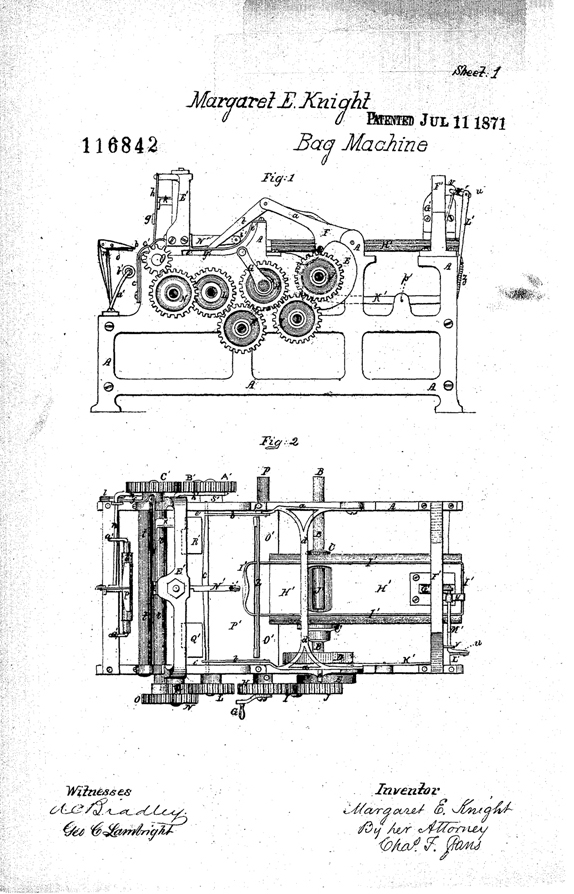 First illustration page from Margaret Knight's 1871 patent for a machine that could produce flat-bottomed paper bags
