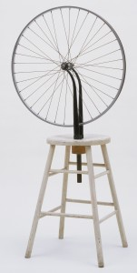 "Marcel Duchamp, <em>Bicycle Wheel</em> 1951 (third version, after lost original of 1913). Metal wheel mounted on painted wood stool, 51 x 25 x 16 1/2"" (129.5 x 63.5 x 41.9 cm). The Sidney and Harriet Janis Collection. © 2012 Artists Rights Society (ARS), New York / ADAGP, Paris / Estate of Marcel Duchamp"