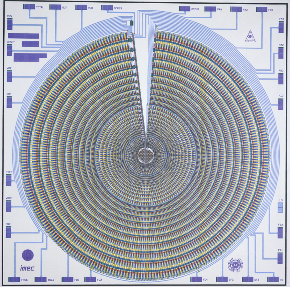 IMEC and University of Pennsylvania. Diagram of a Neural Net: foveated, retina-like sensor. 1989. Manufacturer:  IMEC and University of Pennsylvania. Gift of University of Pennsylvania