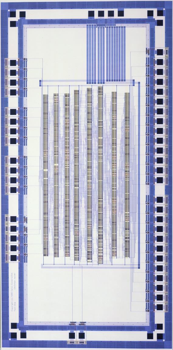Xerox Palo Alto Research Center. Diagram of an Application-Specific Integrated Circuit (ASIC) test chip. 1986.  Manufacturer:  Xerox Palo Alto Research Center. Gift of Xerox Palo Alto Research Center