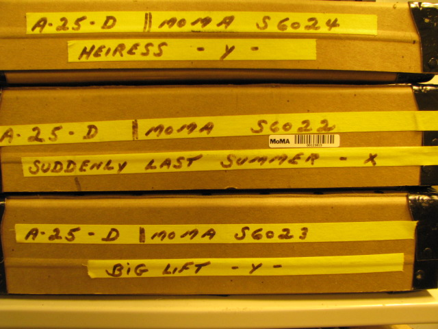 Montgomery Clift film cans. Photo by Art Wehrhahn, Celeste Bartos Film Preservation Center manager