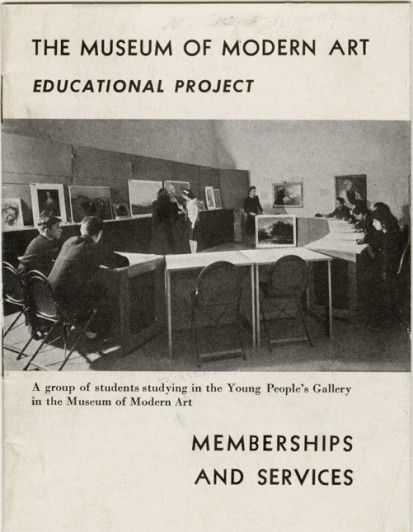 "Cover of the brochure, ""The Museum of Modern Art Educational Project: Memberships and Services,"" with cover reproduction of, ""A group of students studying in the Young People's Gallery in the Museum of Modern Art""; c. 1940, published by The Museum of Modern Art. Archives Pamphlet Files: Educational Project. The Museum of Modern Art Archives, New York. © The Museum of Modern Art, New York"