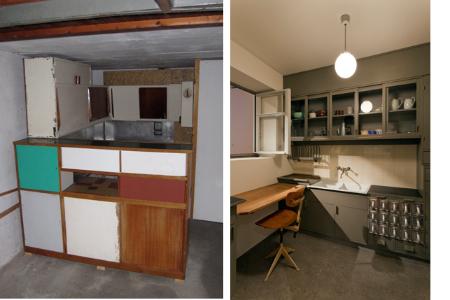 "Images from left: Charlotte Perriand and Le Corbusier's Marseille kitchen assembled in a collector's garage in Munich, Germany; Margarete Schütte-Lihotzky, Frankfurt Kitchen from the Ginnheim-Höhenblick Housing Estate, Frankfurt am Main, Germany. 1926–27. Various materials, 8'9"" x 12'10"" x 6'10"" (266.7 x 391.2 x 208.3 cm). The Museum of Modern Art, New York. Gift of Joan R. Brewster in memory of her Husband George W.W. Brewster, by exchange and the Architecture & Design Purchase Fund"