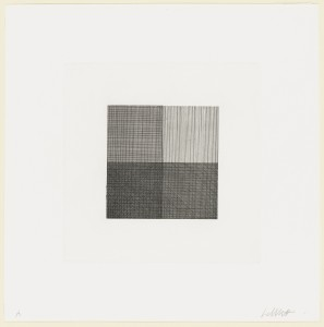 Sol Lewitt. Lines in Four Directions, Superimposed in Each Quarter of the Square Progressively. 1971.