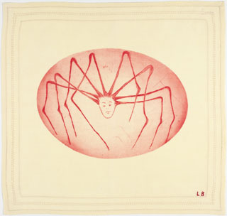 "Spider Woman, 2004. Drypoint on fabric. Sheet: 13 1/8 x 13 ¾"" (33.3 x 34.9 cm). ©2013 Louise Bourgeois Trust."