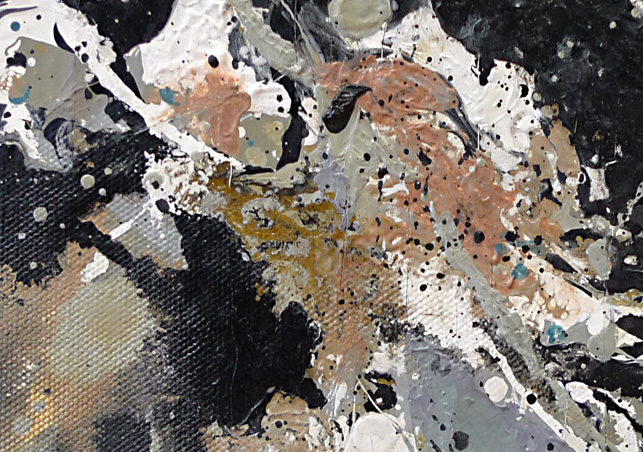 One, detail. Note the uneven brushwork in the mauve, white, and gray and compare the texture to that of the paint in the lower left corner