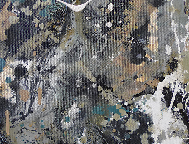 One, detail. By applying different colored paints in quick succession, sometimes with the addition of medium, Pollock created surfaces where several wet layers mixed and blended as they dried