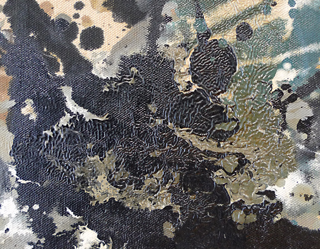 One, detail. Very thick applications of paint often dried to a characteristic, wrinkled appearance