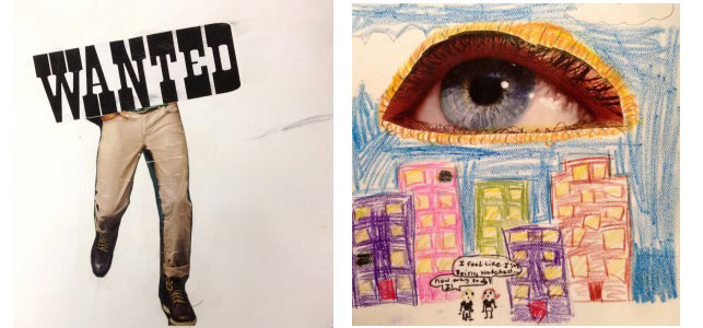 """Artwork created by fourth-grade students at Berkeley Carroll Lower School in Brooklyn. From left: in response to the prompt """"If I Were an Object""""; For the """"Surrealist Landscapes"""" assignment"""