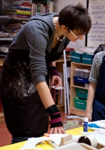 Visual Arts teacher Phaedra Mastrocola works with 2nd and 4th graders at Berkeley Carroll Lower School, Brooklyn