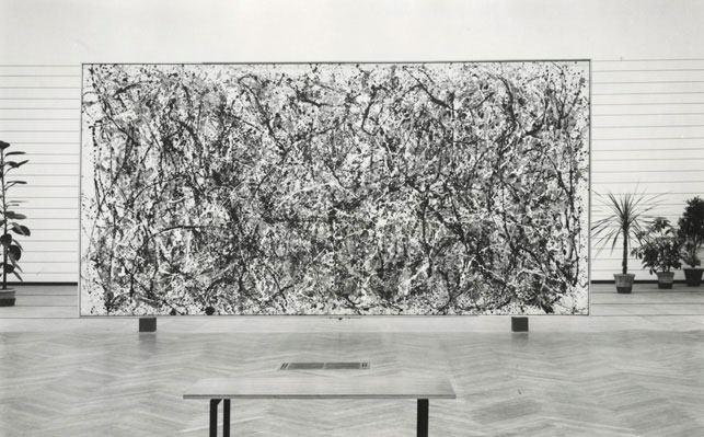A 1958 installation view of One at the Galleria Nazionale d'Arte Moderna in Rome provides a useful reference for the painting's general condition at the time