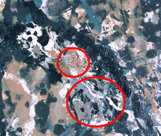 Notice the differences in the paint layer, circled in red, between the 1962 and 2013 images. The cracking observed in 1962 is no longer visible, and the composition, color and texture of the paint has changed