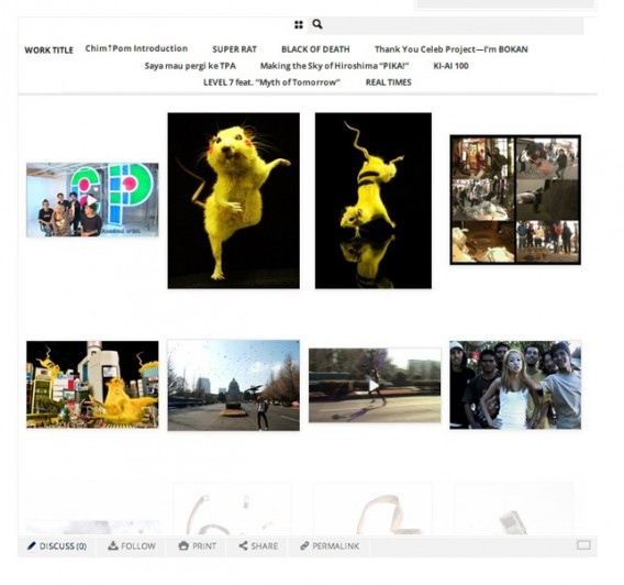 Just eight of the hundreds of images that you can look at in detail on post. This is a screenshot of a portfolio of recent works by the young Japanese art collective, Chim↑Pom, who also created a new video especially for post.