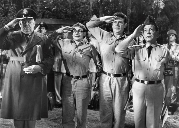 film Howard Smith, Nick Adams, Andy Griffith, and Myron McCormick No Time for Sergeants. Directed by Mervyn LeRoy