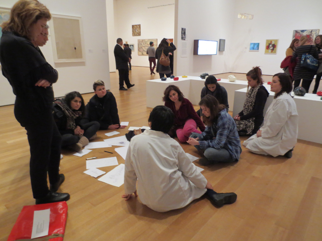 MoMA Roving Gallery Guides performing Yoko Ono's Grapefruit scores in Tokyo, 1955–1970: A New Avant-Garde. Photo: TK