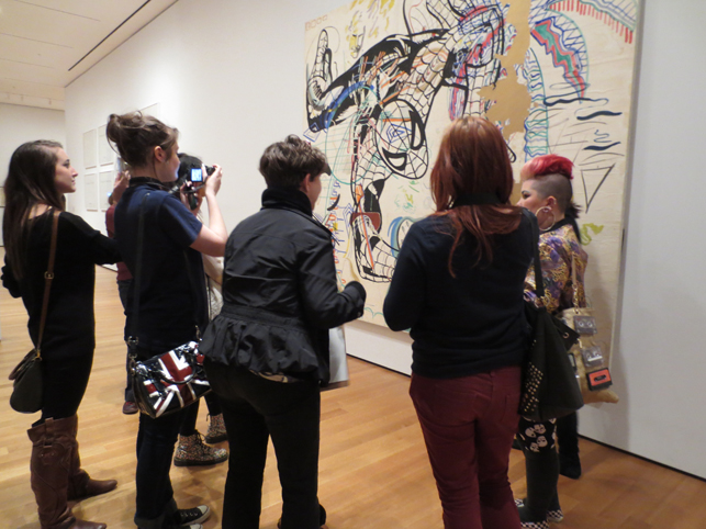 "MoMA Roving Gallery Guides testing ""So You Want to Be an Educator?"" with visitors. Photo: TK"
