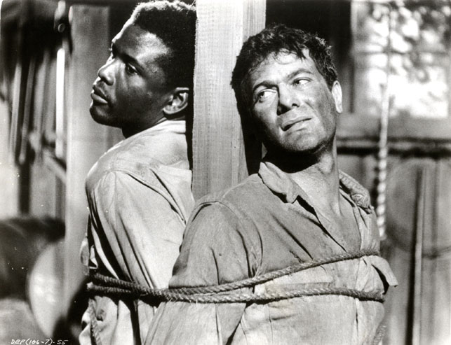 Tony Curtis Sidney Poitier The Defiant Ones. 1958. Directed by Stanley Kramer