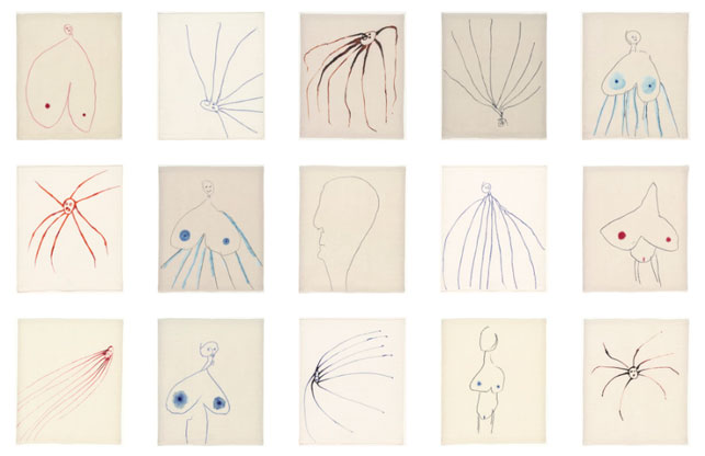 "Louise Bourgeois. Untitled, no. 1-15 of 36, from the series, The Fragile. 2007. Digital prints and screenprints with dye additions, sheet (each approx.): 11 1/2 x 9 1/2"" (29.2 x 24.1 cm). © 2013 Louise Bourgeois Trust"