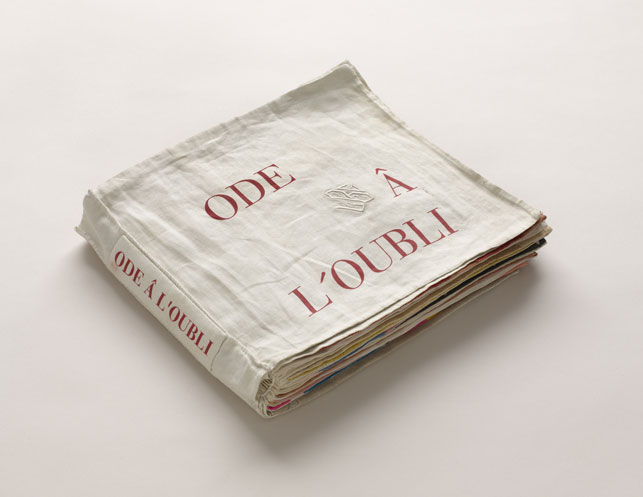 "Louise Bourgeois. Ode à l'oubli. 2002. Fabric illustrated book with 35 compositions: 32 fabric collages, 2 with ink additions, and 3 lithographs (including cover), page (each approx.): 11 3/4 x 13"" (29.8 x 33 cm); overall: 11 x 12 3/16 x 1 ¾"" (28 x 31 x 4.5cm).  © 2013 Louise Bourgeois Trust"